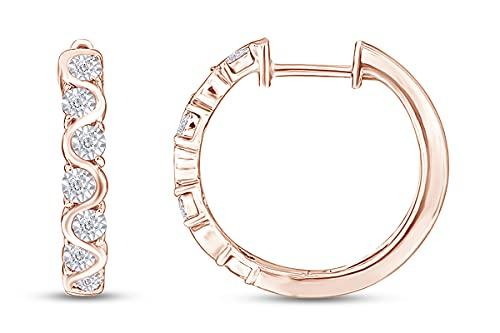 AFFY Pendientes de aro de 1/4 quilates con diamante natural blanco de corte redondo en oro de 18 quilates sobre plata de ley (claridad: I2-I3, color: I-J, 0,25 quilates), diamante blanco,