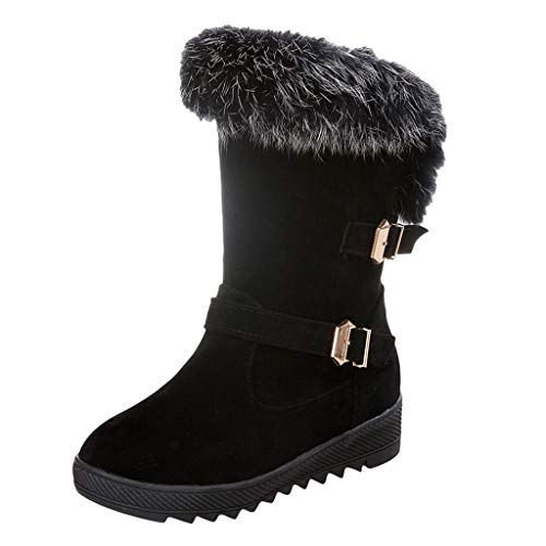 Minikimi Dameslaarzen, waterdicht, gevoerd, warme halfhoge laarzen, klassieke laarzen met blokhak, gewatteerde winterlaarzen