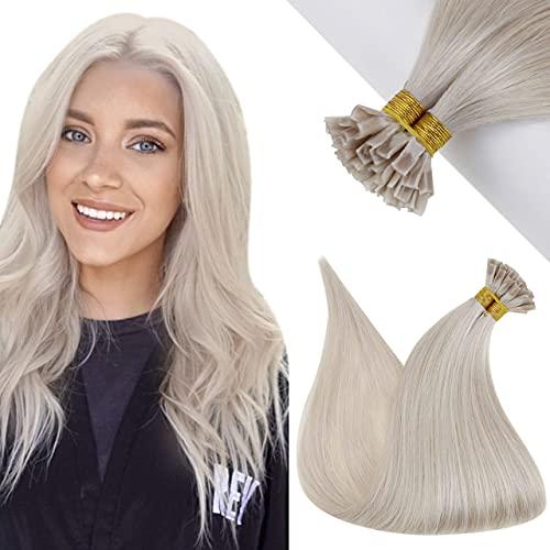 Hetto U Tip Bonding Extensions Echthaar Blond Hot Fusion Hair Extensions 1g Extensions Keratin Bondings U Tips Remi Bresilianer Haar Platinblond #60 14Zoll 1g/s 50g