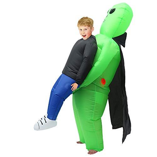 JTWEB Aufblasbares Kostüm Alien,Weihnachtskostüm aufblasbar Grün Carry Me Kostüm Herren Cosplay Kostüm für Weihnacht Party,Halloween-Party (Kinder)