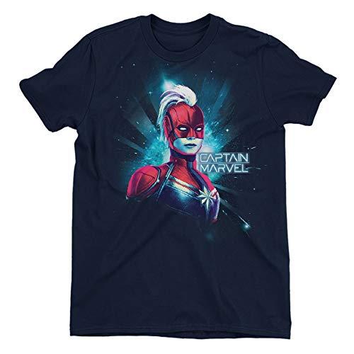 Captain Marvel Neon Children's Unisex Navy T-Shirt 11-12 Years