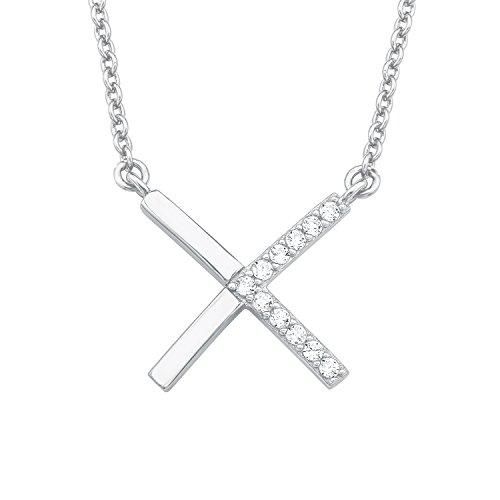 S.Oliver Damen Kette mit X-Anhänger 925 Sterling Silber rhodiniert Zirkonia 42+3 cm weiß