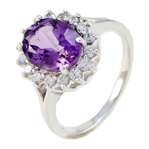 joyas plata echte edelsteine ovale form facettierter amethyst ring - sterling silber lila amethyst ring - februar geburt wassermann astrologie echte edelsteine ring