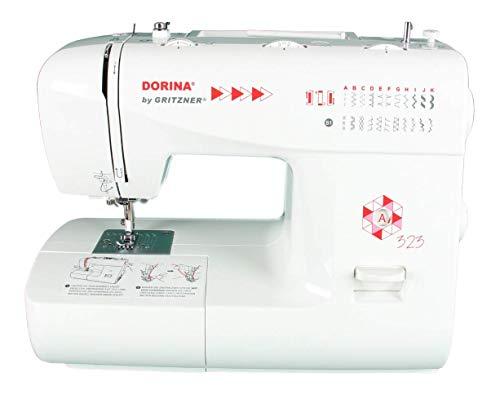 Gritzner Máquina de coser Dorina 323, 23 puntadas útiles y decorativas para cualquier tejido, para bricolaje y hobby, Dorina 323, color blanco