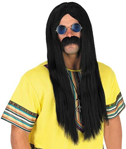 Mens Black Hippy Wig And Round John Lennon Style Teashades Glasses