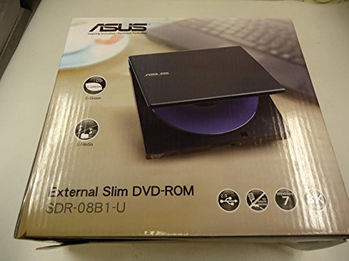 Asus SDR-08B1-U Externes Slim DVD/CD-ROM Laufwerk, USB 2.0, eee PC Zubehör, Schwarz