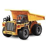 Volquete RC con control remoto de 2,4 GHz, camión volquete de 6 canales con control remoto camión de cama plana 1:18 coche con control remoto, regalo para niños y adultos