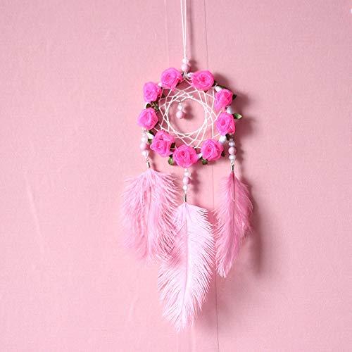 KGDUYH Bene Sogno campanelli eolici collettore Decorati con Rosa Ornamenti di Piume Grande Cerchio di Diametro 10 cm, 45 cm di Lunghezza Totale per la Decorazione Domestica (Color : Pink)