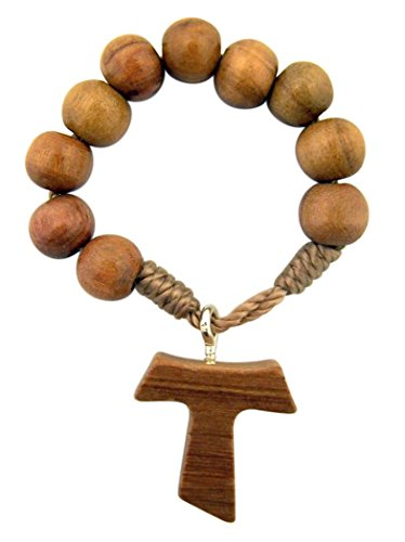 Religious Gifts Olive Wood Prayer Bead One Decade Rosary Ring with Tau Cross, 2 Inch
