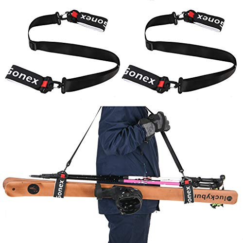 Gonex Snow Ski Carry Strap Shoulder Ski Pole Handle Holder for Kids Men Women Family Tote Boot Strap Backcountry Gear Ski Accessories