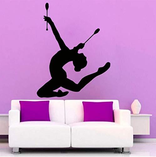 Muursticker voor de woonkamer, turnerin meisjes, sportmuursticker, kleuterschool, babykamer, plakfolie, huishoudelijk, vinylsticker, elegant decor 42 x 66 cm