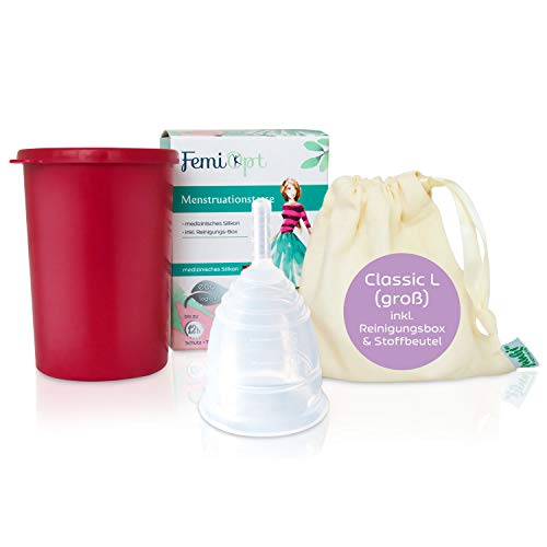 FemiOpt Menstruationstasse - medizinisches Silikon - bpa frei - geruchslos - Alternative zu Tampons und Binden-nachhaltige Monatshygiene - mit Reinigungsbecher & Stoffbeutel CLASSIC L