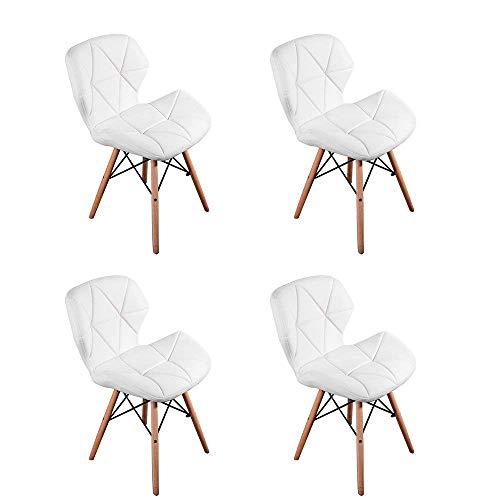 N/C – Juego de 4 sillas de piel sintética para comedor, patas de madera, 74 cm, color blanco