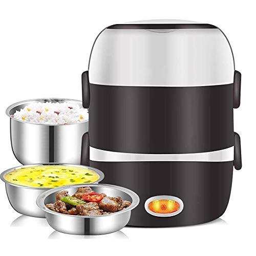 2L Mini Elektrische Rijstkoker Roestvrij Staal 3 Lagen Steam Portable Meal Thermische Verwarming Kachel Lunch Box Container