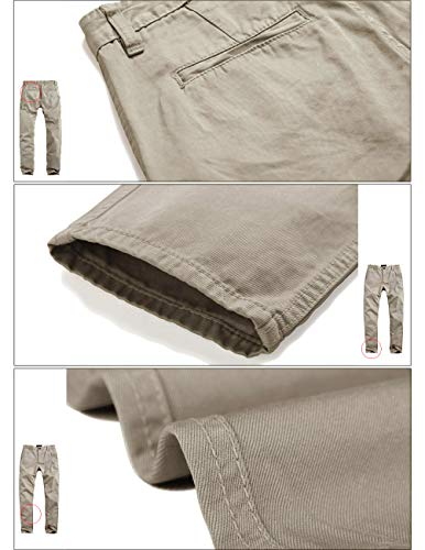 Match Mens Slim-Tapered Flat-Front Casual Pants(30W x 31L,Apricot-2)