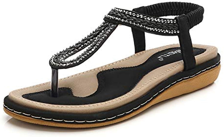 Women's Open Toe Sandals Summer Bohemia Rhinestone Flower Bead Folk Sandals Boho Beach Flip Flops Elastic T-Strap Clip On Post Thong Flat Sandals shoes