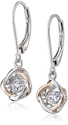 .925 Sterling Silver Dancing Cubic Zirconia Two-Tone Love Knot Leverback 1