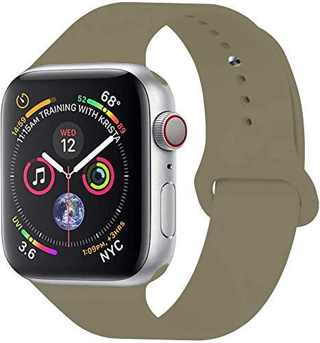 Tervoka Ersatz Armbänder für Apple Watch Armband 40mm 38mm, Weiche Silikon Ersatz Armbänder für iWatch Armband Series 5/4/3/2/1, S/M, Khaki