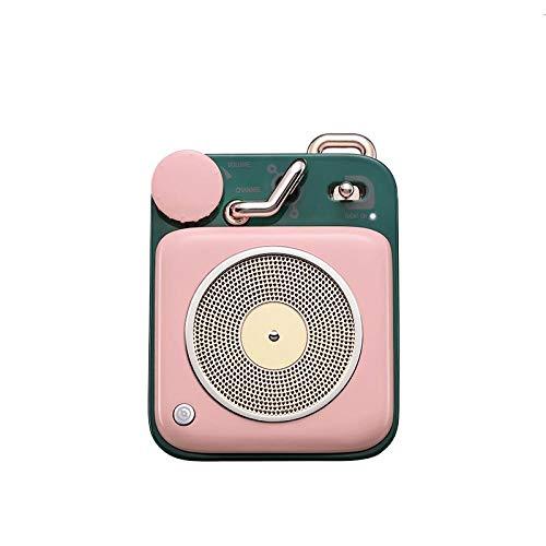 Intelligente spraakoproepen stereo luidspreker Bluetooth draagbaar retro platenspeler, Roze.
