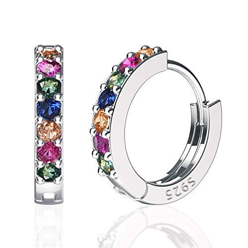 Sweetv, piccoli orecchini a cerchio multicolore in argento Sterling 925, per donne e ragazze, piccoli orecchini a cerchio con zirconia cubica e Lega, colore: Nero