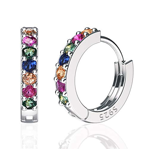 SWEETV 925 Sterling Silver Rainbow Hoop Earrings for Women Girls - Small Hoop Earrings Cubic Zirconia