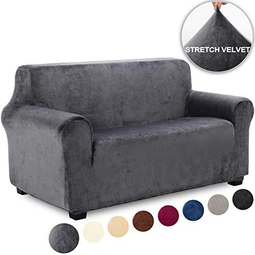 TIANSHU Fluwelen zachte en dikke sofa hoes Antislip stijlvolle hoes voor meubels Fluwelen hoes voor Loveseat hoesjes Stijlvolle moderne hoes voor fluwelen pluche meubels(2-Zits,Grijs)