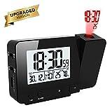 Queta Projektionswecker Digital Uhr mit Zeit Temperatur Projektion, mit Dual-Alarm, Luftfeuchtigkeit, Snooze, Timer, Kalender, USB-Anschluss (Schwarz)