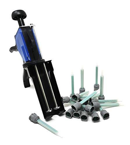 Ber-Fix® - Juego de pistola dosificadora con 25 boquillas de mezcla para cartuchos dobles de 50 ml, 1:1 para 2 componentes, cartucho de pegamento, pistola de cartucho está hecha de metal estable y ABS