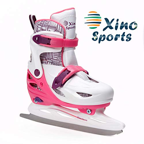 Xino Sports Adjustable Ice Skates - for Girls and Boys, Two Awesome Colors - Blue and Pink, Soft Padding and Reinforced Ankle Support, Fun to Skate! (Pink, Small)