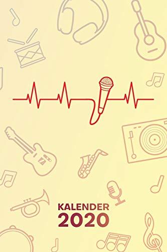 KALENDER 2020: A5 Musikinstrumente Terminplaner für Künstler mit DATUM - 52 Kalenderwochen für Termine & To-Do Listen - Sänger Herzschlag Terminkalender Mikrofon EKG Jahreskalender Gesangsunterricht