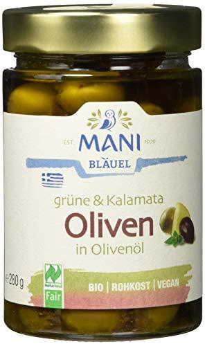 MANI Grüne & Kalamata Oliven in Olivenöl, bio, 2er Pack (2 x 280 g)