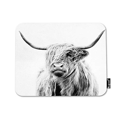 Mugod Cow Mouse Pad Portrait of a Highland Cow Cattle Ox Horn Hairy Grey White Mouse Mat Non-Slip Rubber Base Mousepad for Computer Laptop PC Gaming Working Office & Home 9.5x7.9 Inch