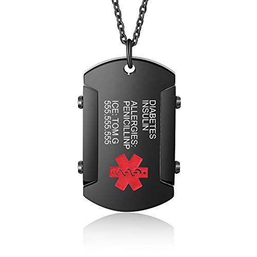 Personalized Medical Alert ID Necklace Stainless Steel Dog Tag Health Medical Emergency Identification Pendant Necklace Customize Jewelry for Men Women Medical Bracelets (Black)
