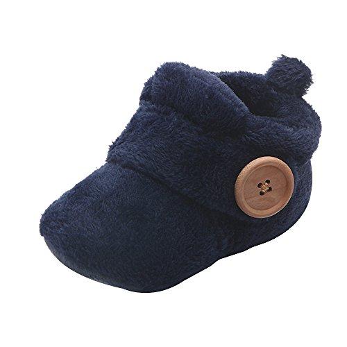 Lazzboy Reizende Kleinkind Erste Wanderer Babyschuh Runde Zehen Ebenen Weiche Pantoffel Schuhe Winter Krabbelschuhe Schöne Stiefel Unisex Babyschuhe(Blau,12)