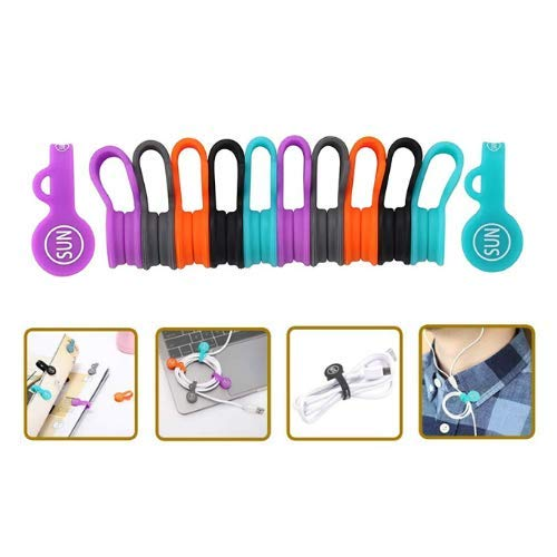 SUNFICON 10 Pack Cable Organizers Clips Earbuds Cords Organizers Magnetic Cable Clips Bookmark Whiteboard Noticeboard Fridge Magnets Cable Manager Keeper Ties for Kitchen Office School Assorted Colors