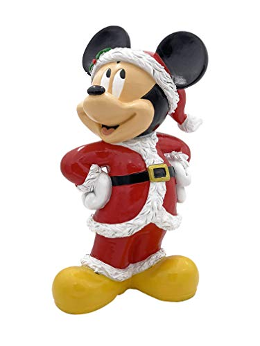 The Galway Company Disney Mickey Mouse Dressed as Santa Garden Statue, Stands 10 Inches Tall and 7 Inches Wide