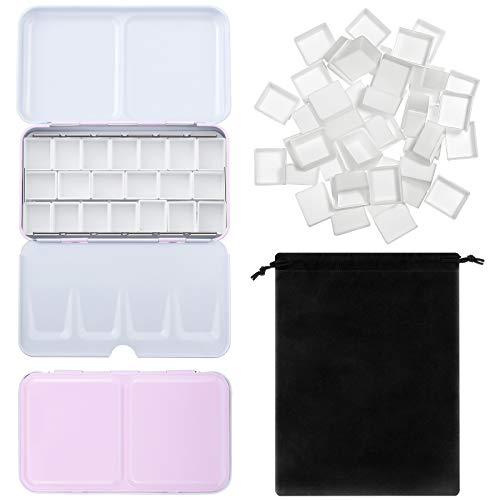 51 Pieces Watercolor Paint Palette and Half Pans Set Watercolor Tin Box Metal Palette Paint Case with Lid Empty Watercolor Pans with Black Storage Bag for Travel Painting Artist (Pink)