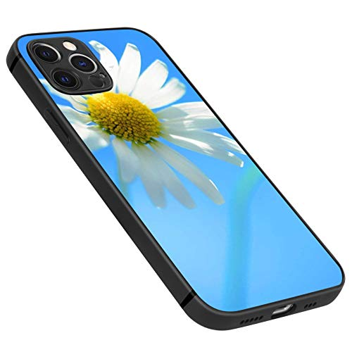 FAUNOW Matte Schutzhülle für iPhone 12 Pro, ultradünn, stoßfest, Schwarz mit weißen Gänseblümchen.