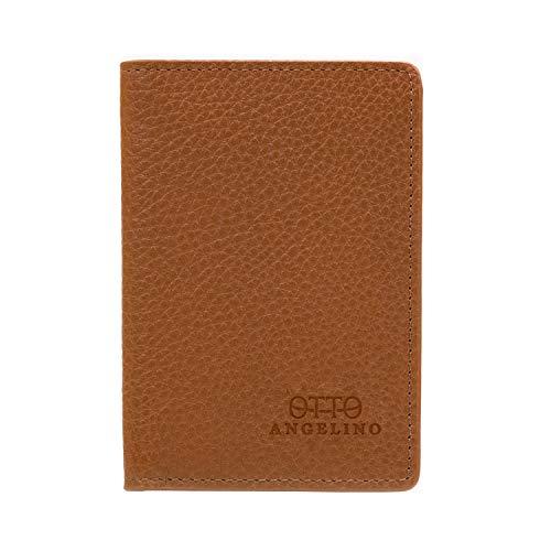 Otto Angelino Bifold Lederen Portemonnee - Paspoort-Stijl Credit Card Houder voor ID-Kaart, Bank en Debetkaarten, Geld - Opvouwbaar, Licht en Reis-Vriendelijke - RFID Protection (Lichtbruin)