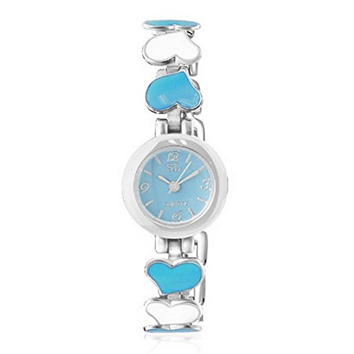 My Daily Styles Fashion Alloy Love Heart Silver-Tone Blue Bianco quadrante Rotondo Orologio da Polso da Donna