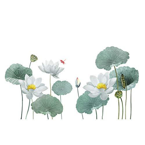 Diy Giant Lotus Flower Wall Art Stickers Sala de estar Decoración Tv Sofá Fondo Decoración para el hogar Wall Cover Posters