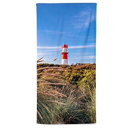 fotobar!style Duschtuch 70 x 140 cm Elektrischer Leuchtturm von Borkum
