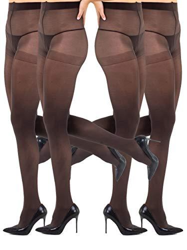Sibinulo Pantimedias para Mujer 4 pares 100 den Microfibra Lisas y Opacas Costura de Entrepierna, con Fuelle Maroon XL