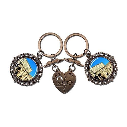 Hqiyaols Keychain Italia Arco De Constantino Roma Pareja Llavero Día de San Valentín Llavero Adornos Recuerdo Coleccionable Cristal redondo Bronce Metal 2pcs / Set
