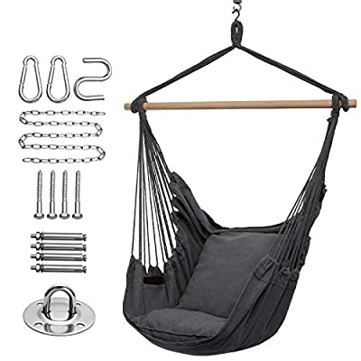 Y- STOP Hammock Chair Hanging Rope Swing-Max 320 Lbs-2 Seat Cushions Included-Quality Cotton Weave for Superior Comfort & Durability (Dark Grey)
