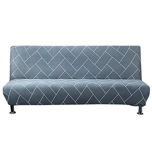 Carvapet Elastischer Sofabezug Armlos Sofaüberwurf Ohne Armlehne Antirutsch Clic Clac Sofahusse Couch überzug (Dunstblau)