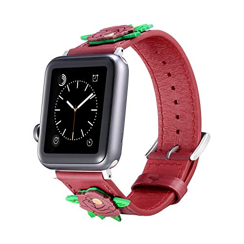 Litmited Edition Handmade Rose Leather Watch Band Compatible with Apple Watch 42mm/44mm Fashion Design Watchband for iwatch Series 4/3/2/1 Replacement Band Strap Wristband for Women Men (42mm/44)