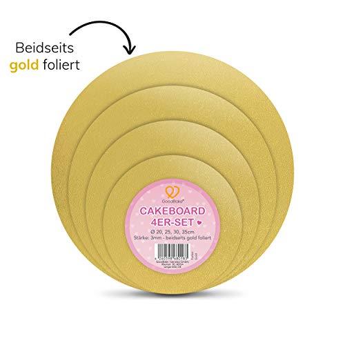 GoodBake 4-teiliges Cakeboard Set (Ø 20 + 25 + 30 + 35cm) beidseitig foliert für Kuchen und Torten, Tortenunterlage, rund (gold)