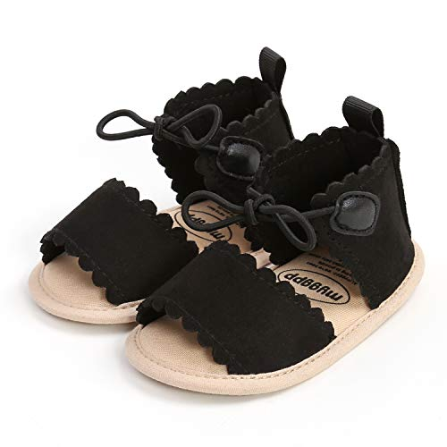 VIENNAR Juego de sandalias y diadema para recién nacidos, lindos cordones Mary Jane Flats, sandalias de suela suave para la playa, sandalias casuales y diadema con corona brillante