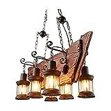 YLJYJ Lámpara Colgante en Madera y Metal Oxidado Lámpara Colgante Vintage sobre una Mesa de Comedor Retro Luces de Techo de Estilo